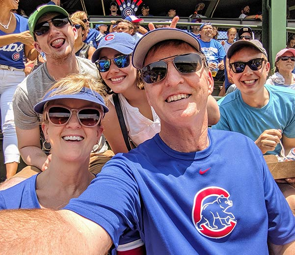 Kent Smith with his family at Cubs game