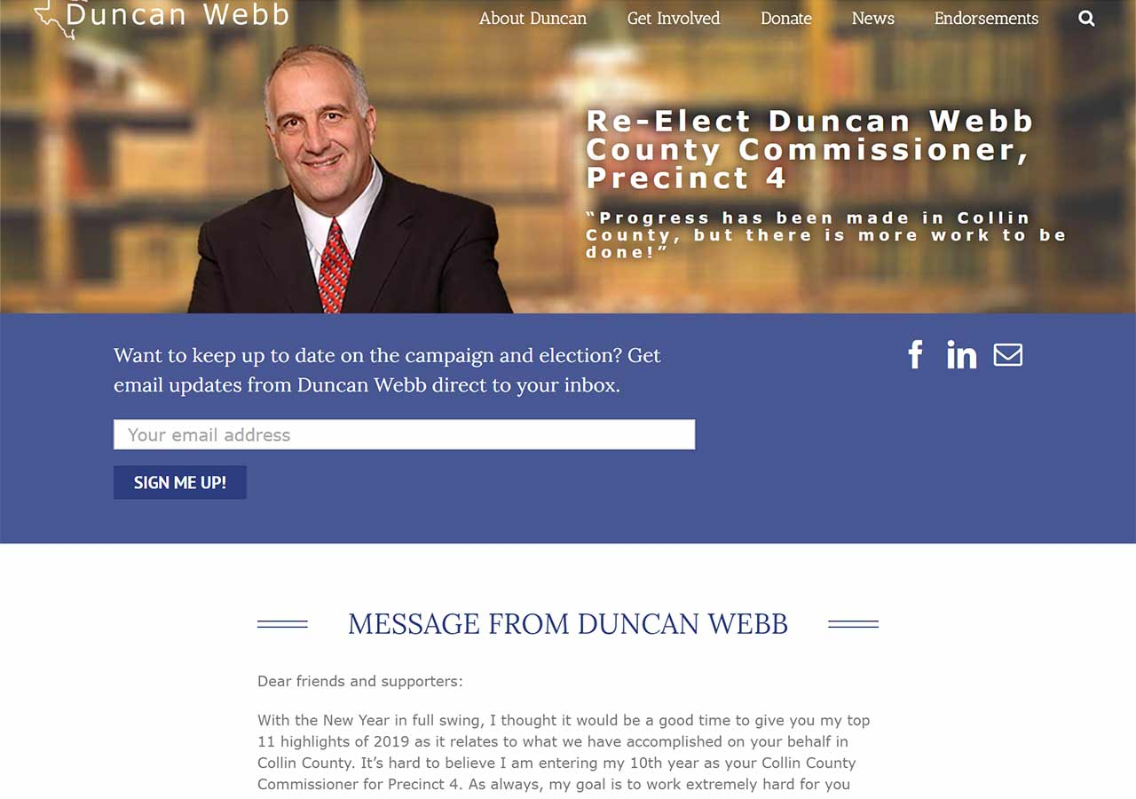Duncan Webb Campaign website home page