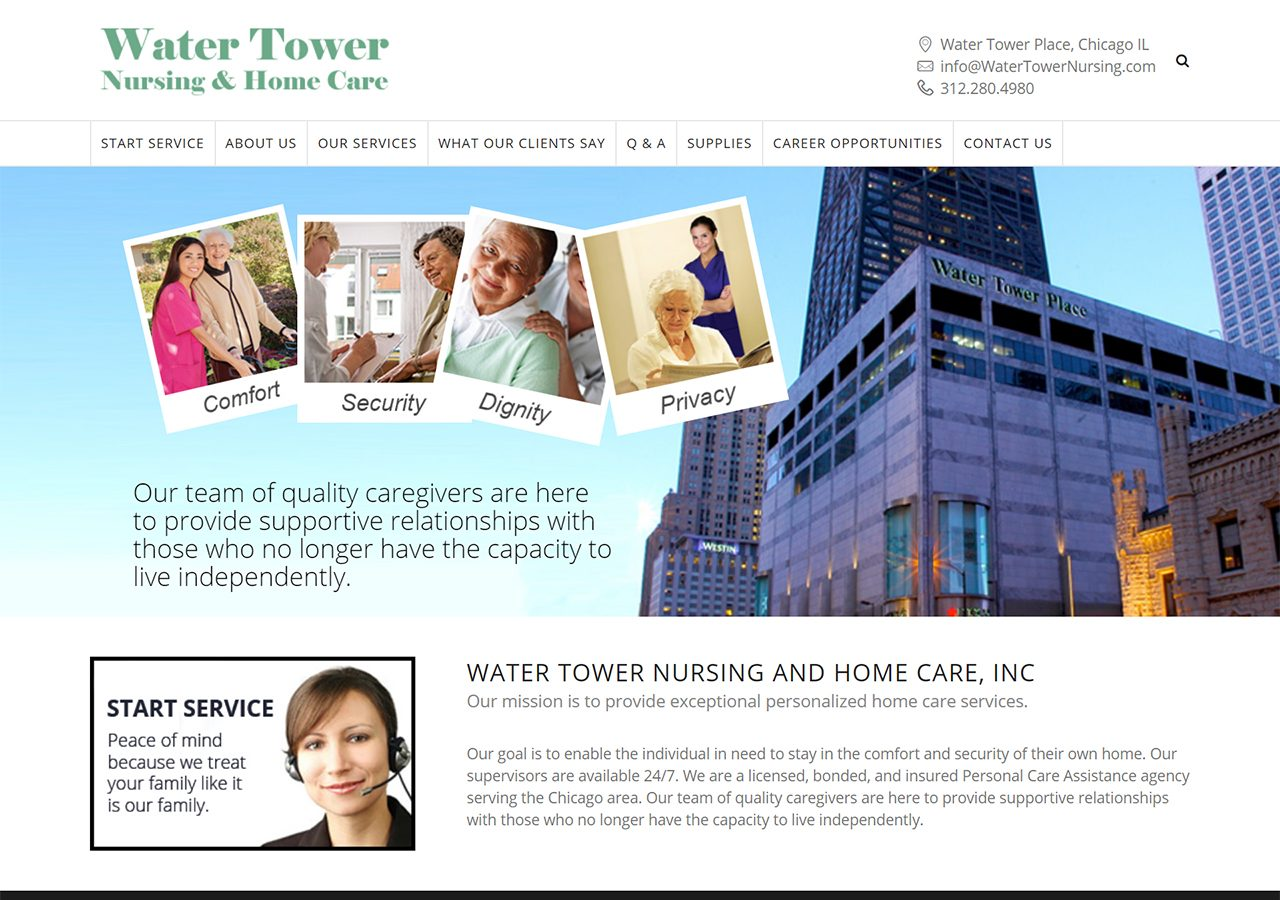 Water Tower Nursing home page